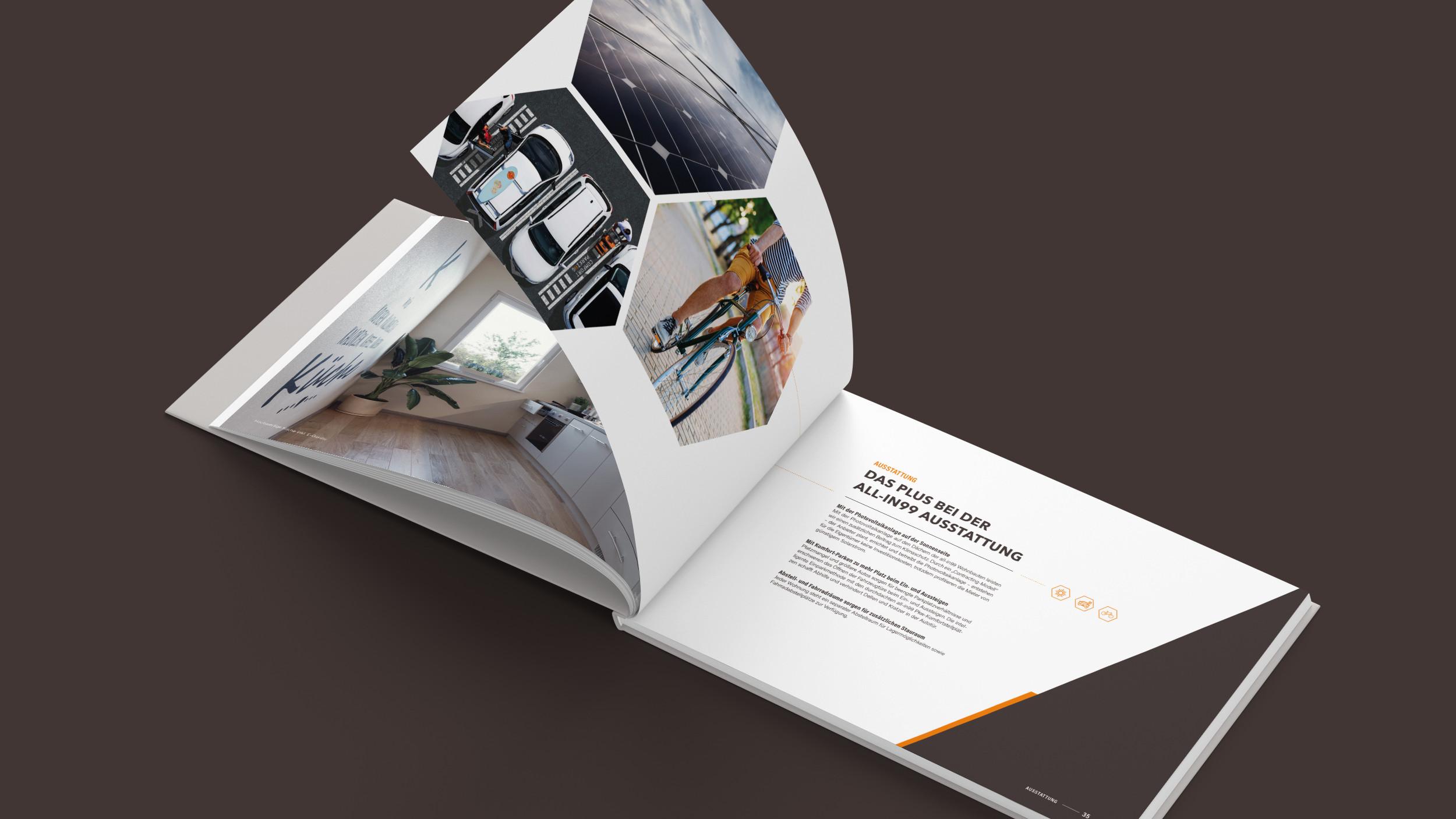 Aufgeschlagendes allin99 Buch mit Symobilbildern zum Parksystem und Photovoltaik