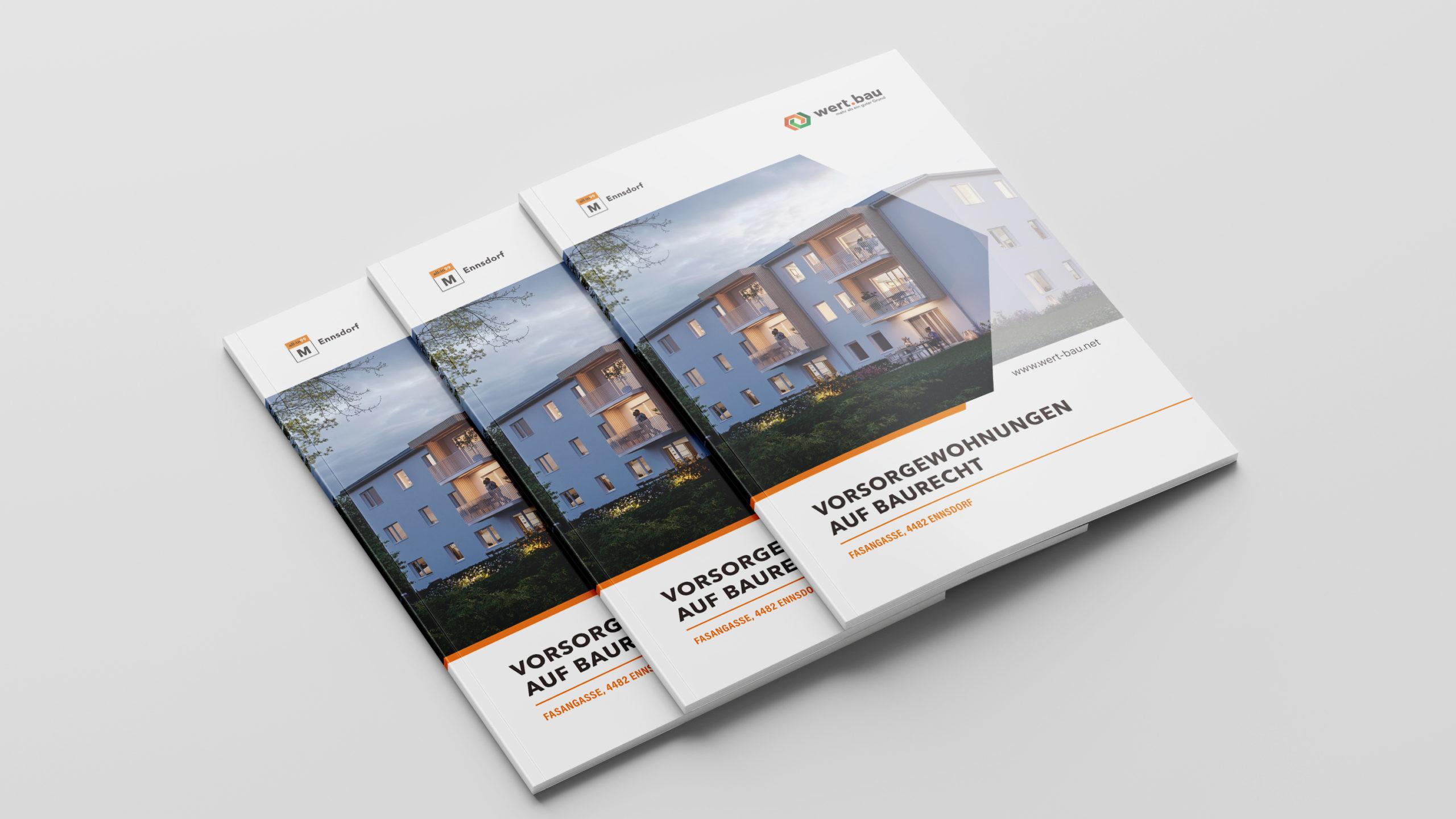 Drei Projektfolder mit der Visualisierung zum all-in99 Projekt Ennsdorf am Cover