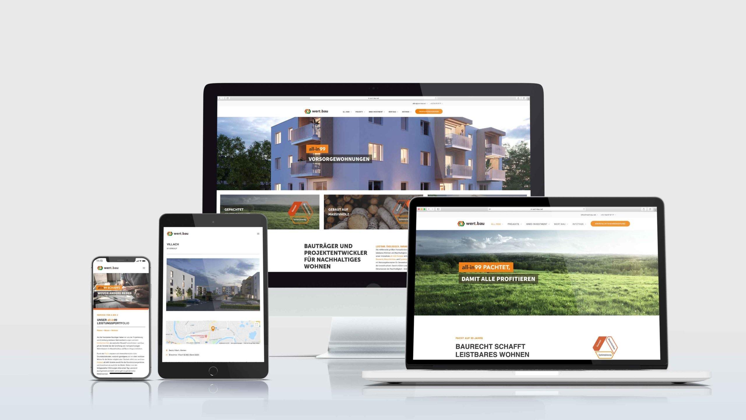Webdesign der wert.bau auf Smartphone, Tablet, Desktop und Laptop (von links nach rechts)