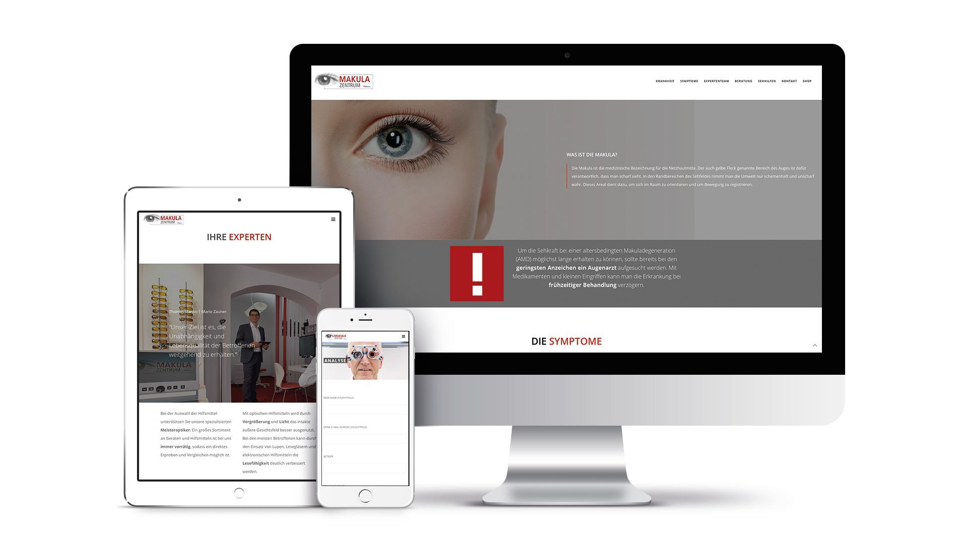 Tablet links Smartphone Vordergrund und Desktop im Hintergrund zeigen das Webdesign von Makula