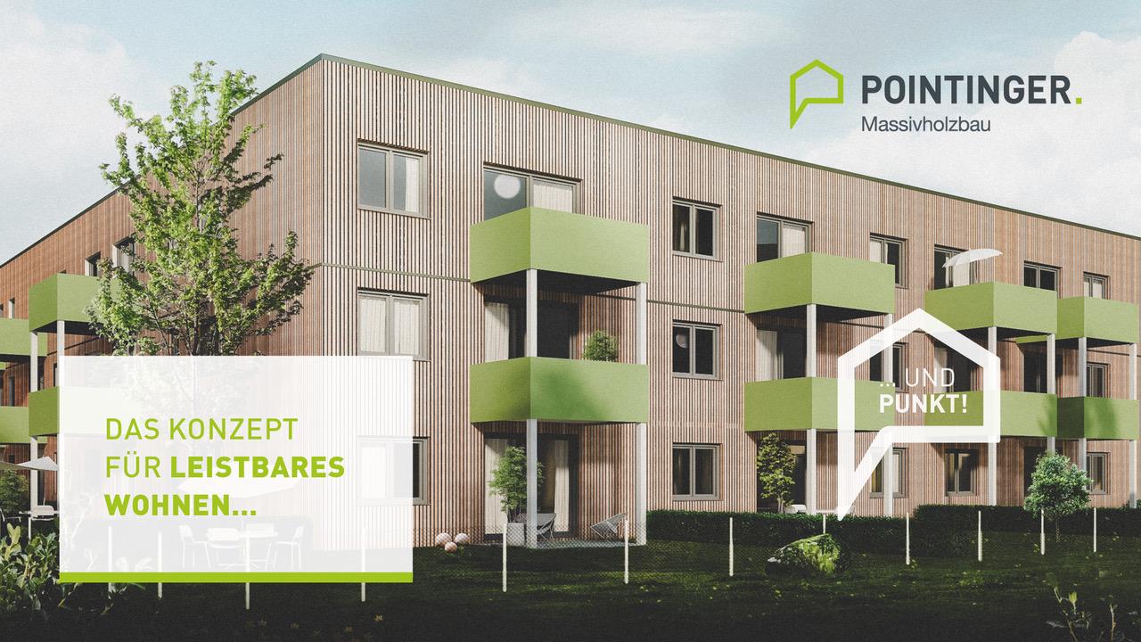 Massivholzhaus von Pointinger mit grünen Balkonen als Konzept für leistbares Wohnen