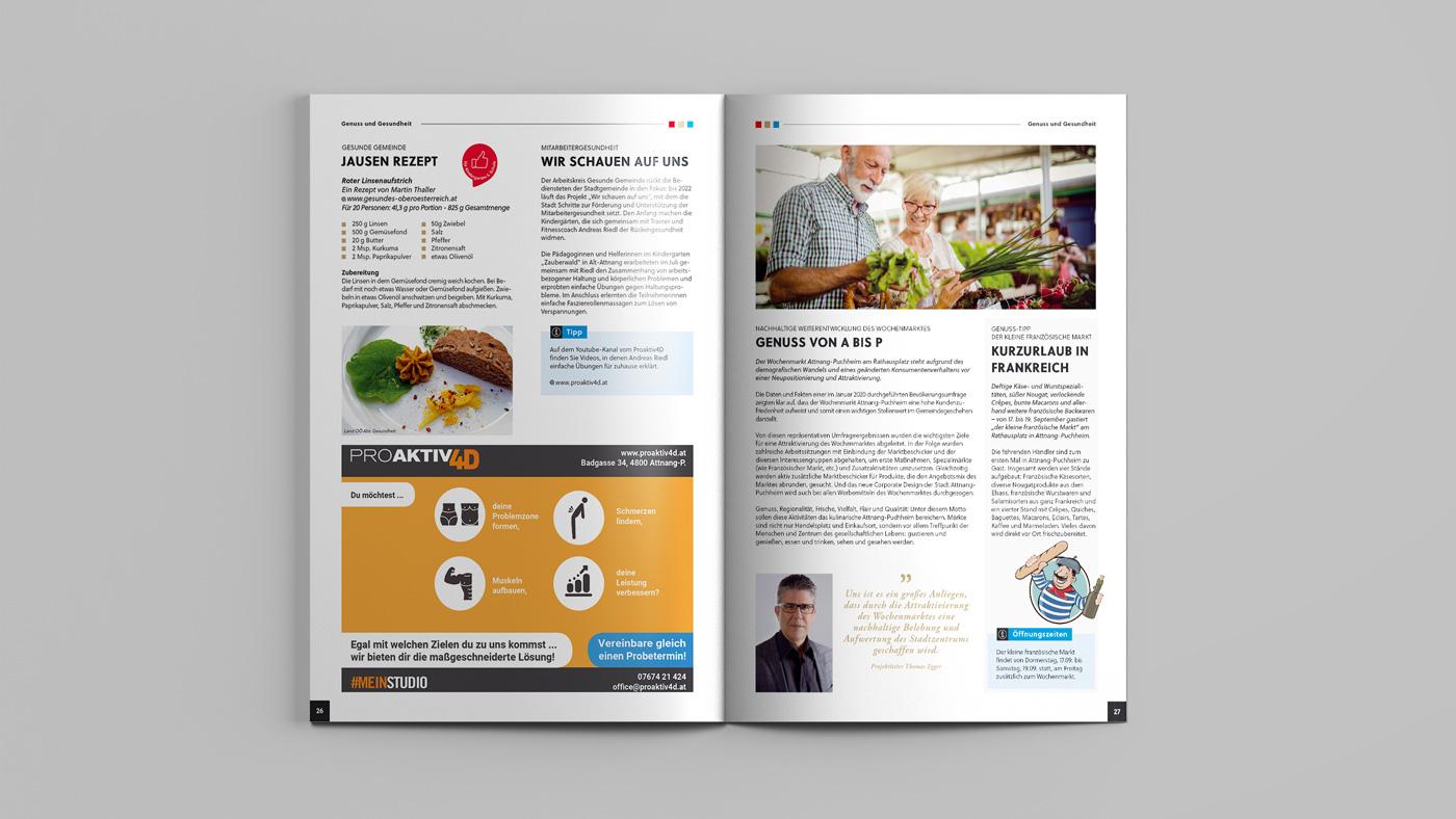 Aufgeschlagenes Stadtmagazin von Attnang-Puchheim mit Rezept und Genuss am Wochenmarkt