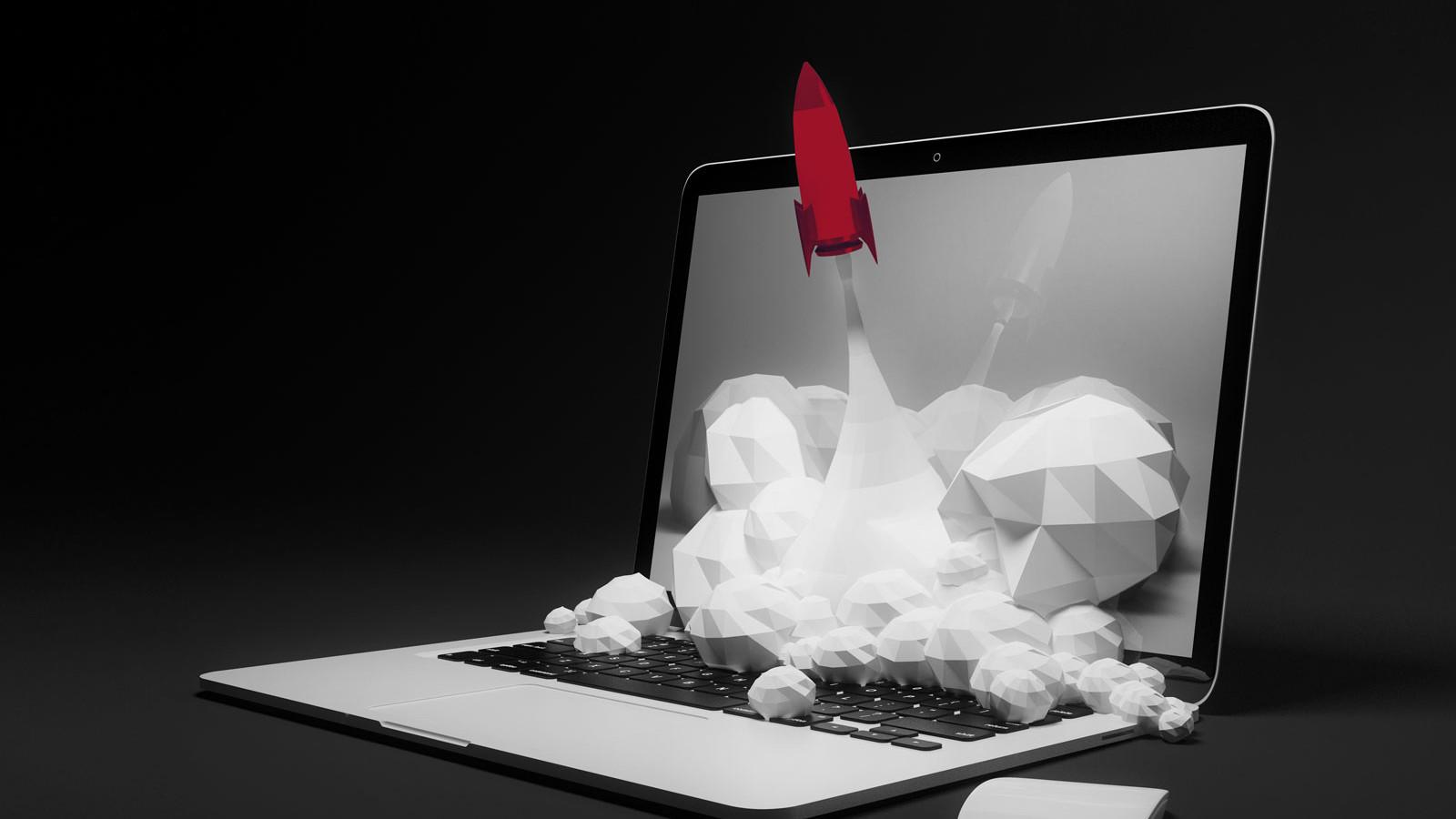Eine rote Rakete startet aus dem Laptop als Symbolbild für das Potenzial von Markencoaching