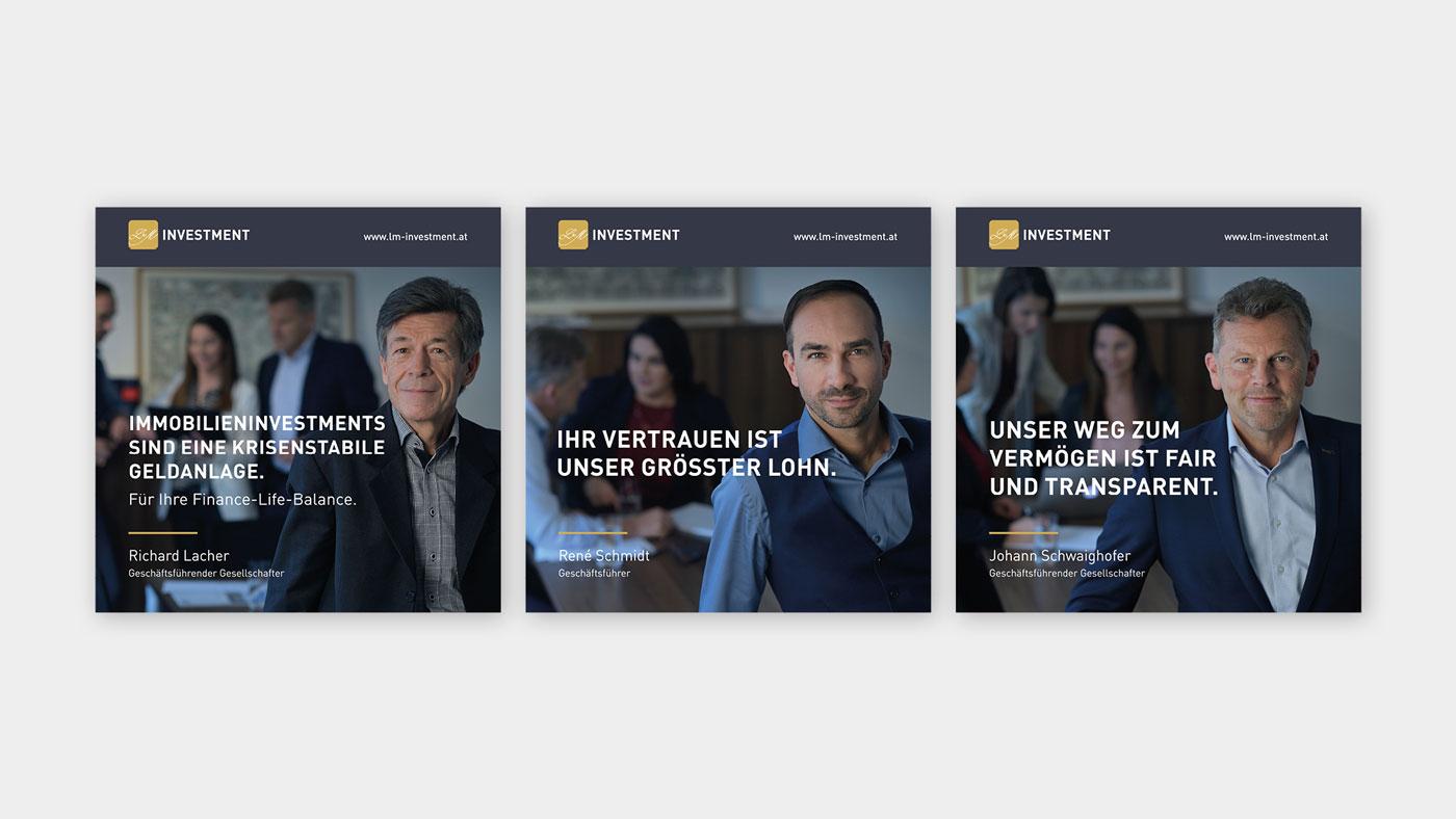 Drei Facebook-Postings mit den Geschäftsführern von L&M Investment und jeweils Slogans