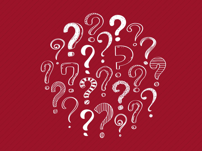 Viele weisse Fragezeichen auf rotem Hintergrund als Ausloeser für ein Glossar