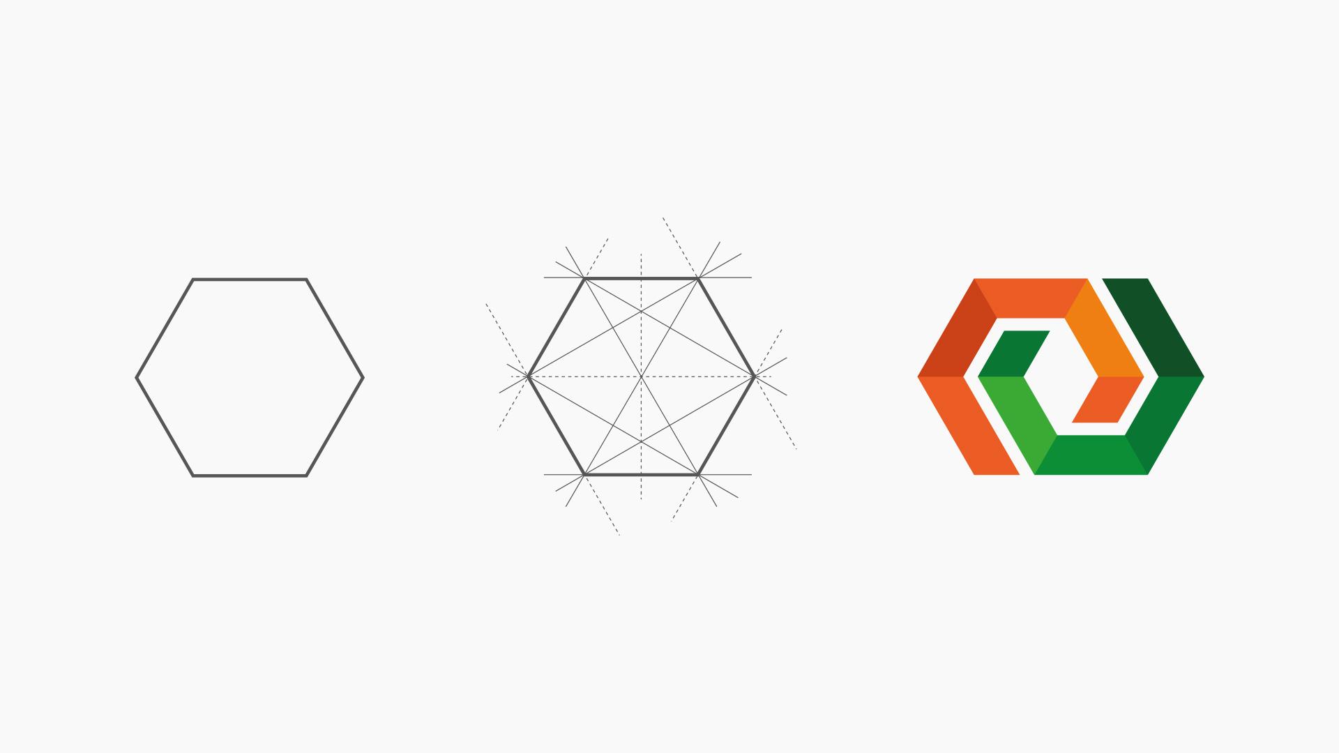 Entstehung der Bildmarke vom Hexagon bis zu der finale Version mit orange und gruen der wert.bau