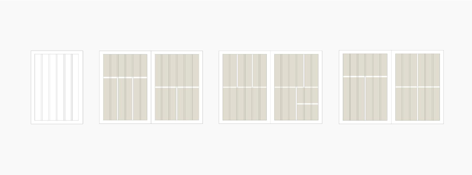 Vier verschiedene Raster die den Satzspiegel fuer Printmaterial Attnang-Puchheim zeigen