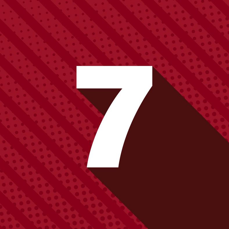 Weisse Zahl 7 auf rotem Hintergrund für 7 Ziele des Corporate Blogs