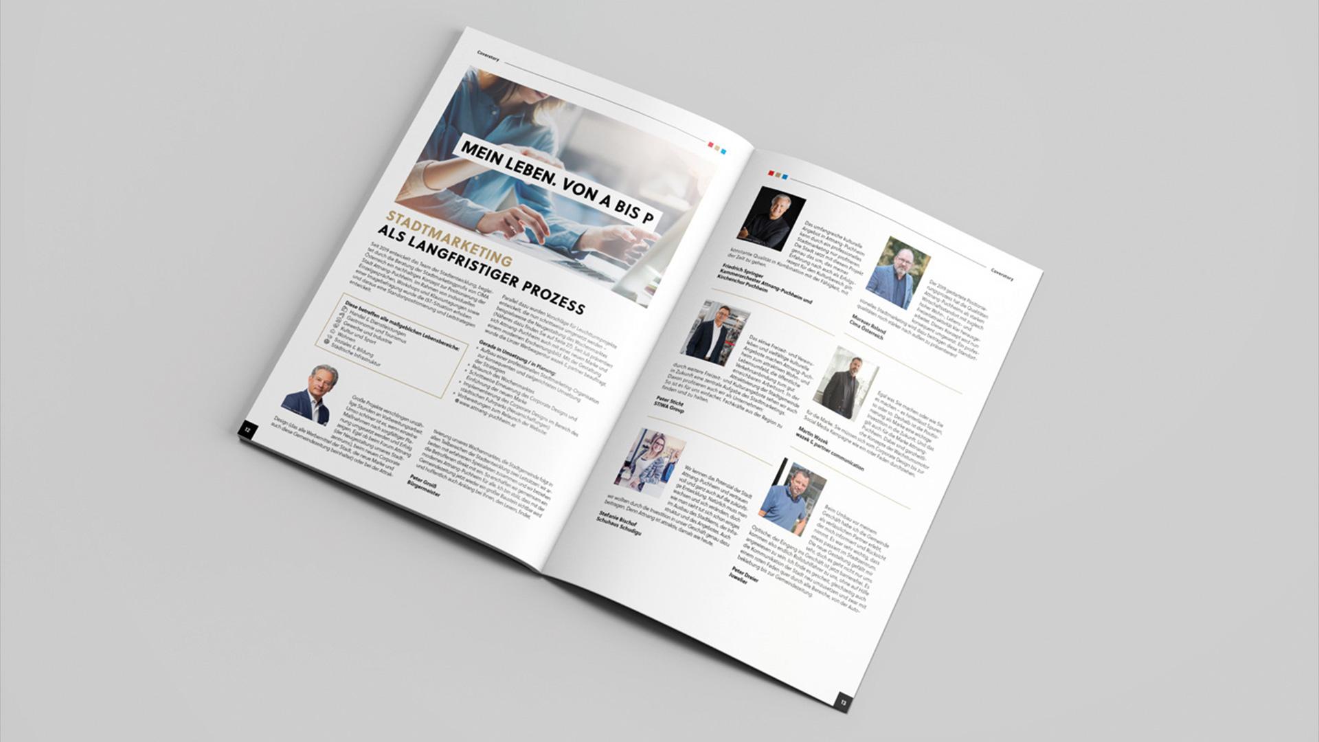 Aufgeschlagenes Stadtmagazin Attnang-Puchheim mit den Bilder der Personen im Stadtmarketing
