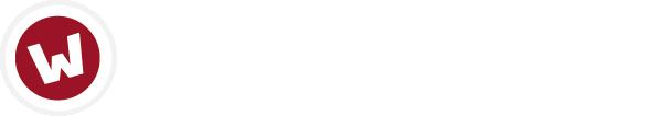 Weißer Buchstabe w auf rotem Kreis als Bildmarke und wazek & partner in weißer Schrift