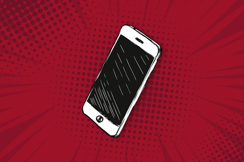 Smartphone auf rotem Hintergrund steht für Mobile First-Indexierung