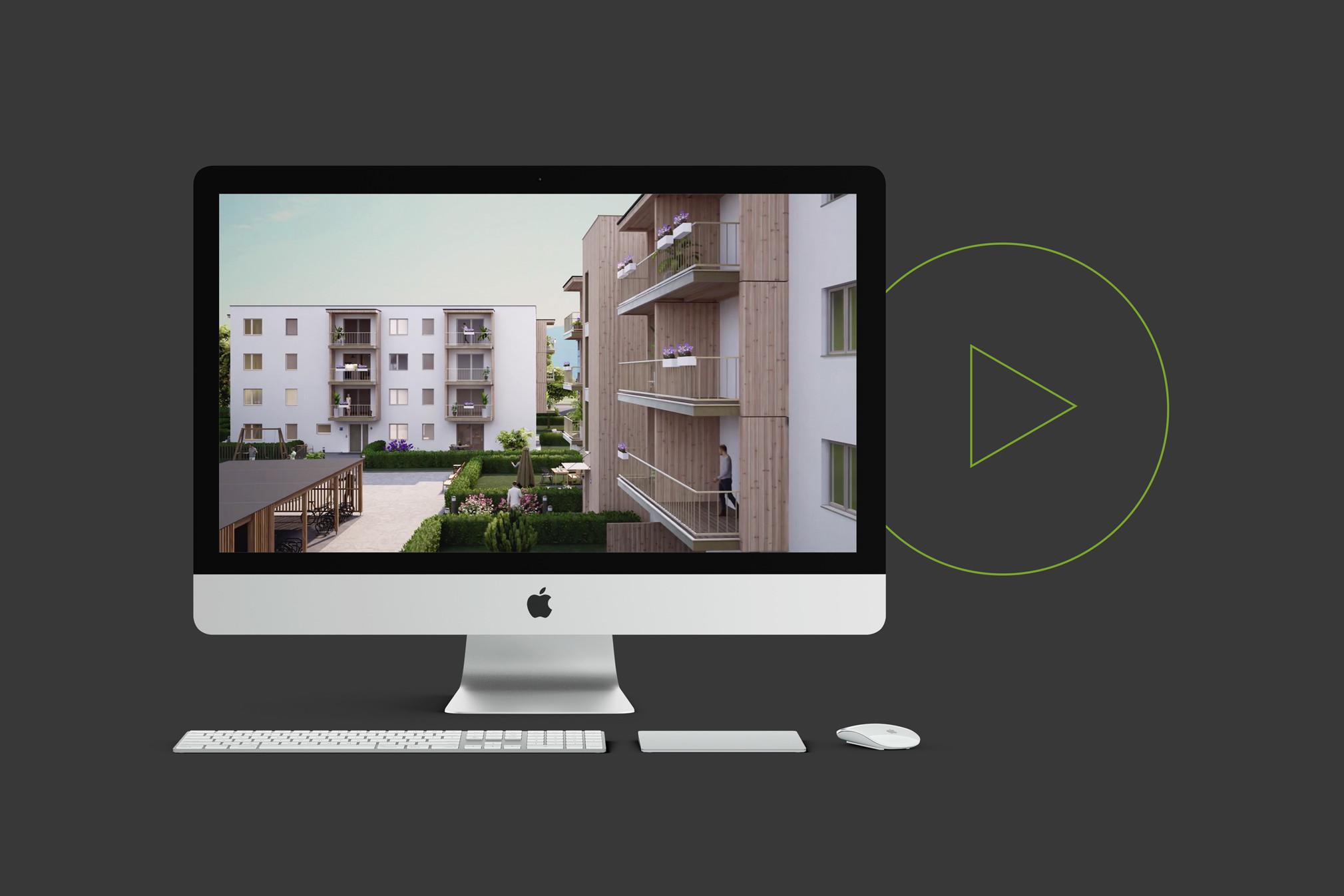 Bildschirm mit Tastatur und Maus zeigt Visualisierung von Projekt Villach grüner Play Button im Hintergrund