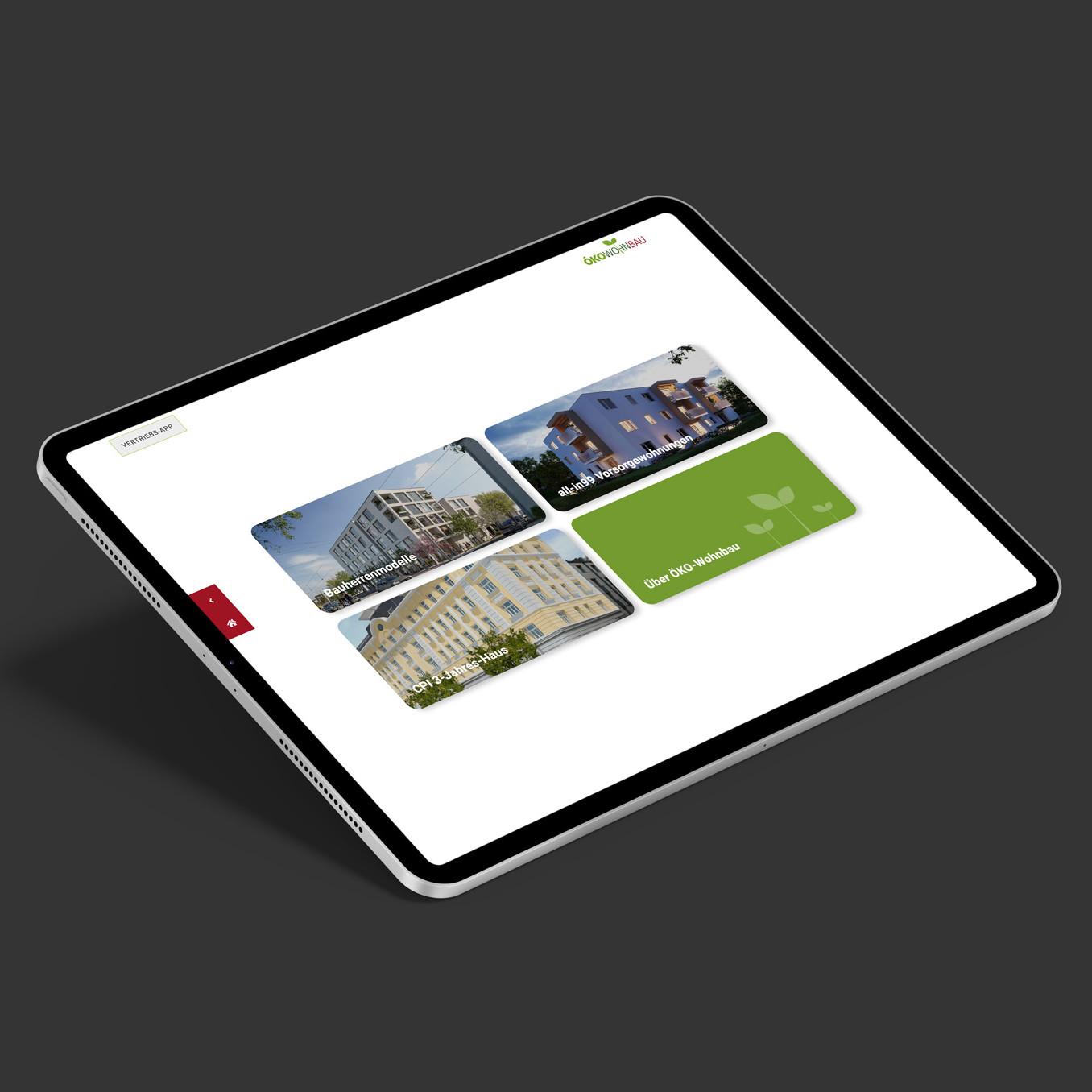 Tablett Öko-Wohnbau Sales-App Startfolie